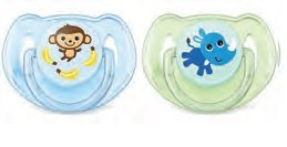 Avent Silicone Boys Classic Twin Pack Soothers 6-18 Months