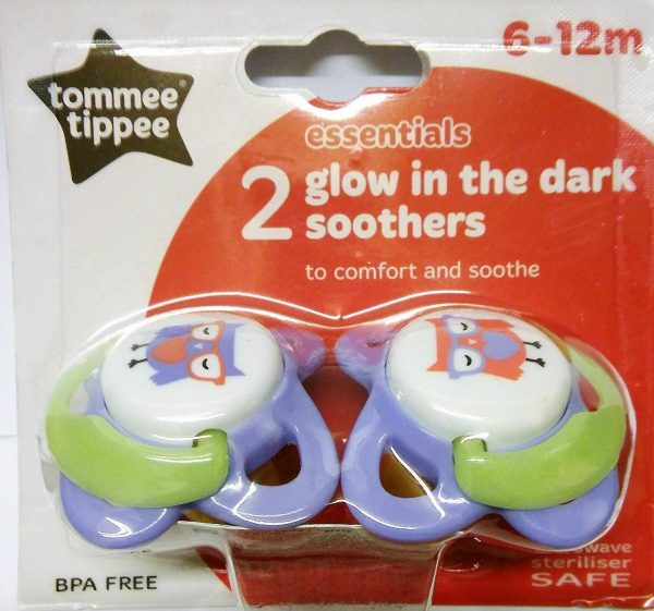 ESSENTIALS 2 GLOW IN THE DARK SOOTHERS 6-12M