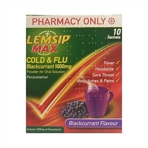 LEMSIP MAX COLD & FLU 1000MG BLACKCURRANT 10 Sachets