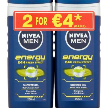 NIVEA MEN SHOWER GEL ENERGY 2X250ML TWINPACK