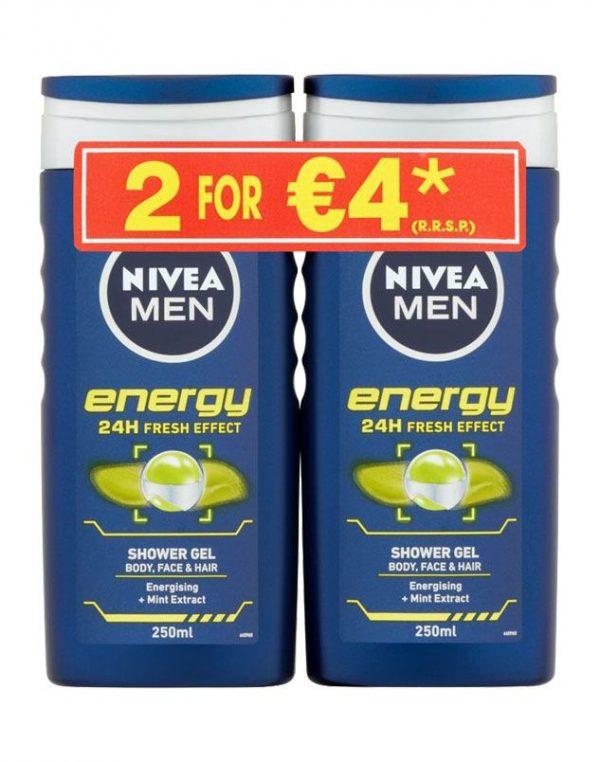 NIVEA MEN SHOWER GEL ENERGY 2X250ML TWINPACK