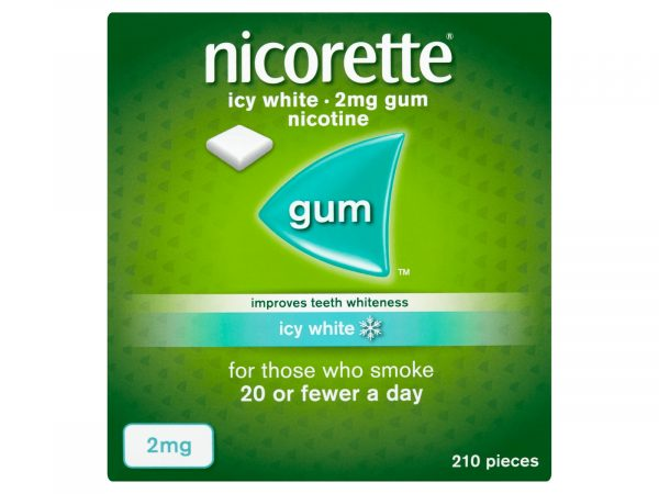 Nicorette Icy White 2mg Medicated Chewing Gum 210 Pieces