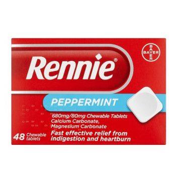 RENNIE PEPPERMINT 680MG/80MG 48 CHEWABLE TABS