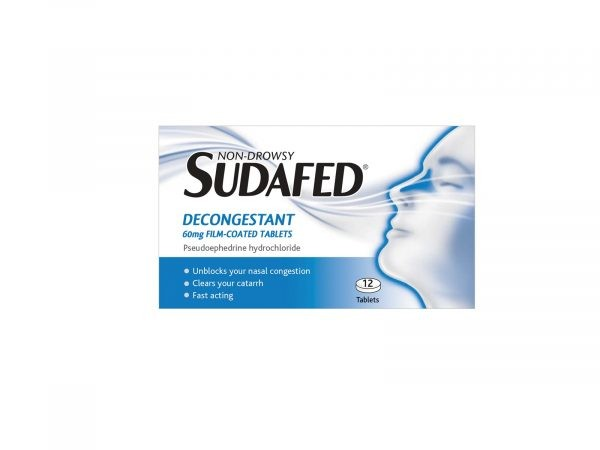 Sudafed Non-Drowsy Decongestant 60mg 12 Film-Coated Tablets