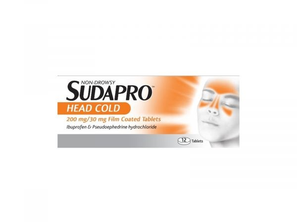 Sudapro Head Cold 200mg/30mg 12 Film-Coated Tablets