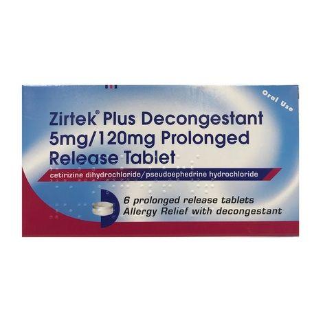 Zirtek Plus Decongestant 5mg/120mg 6 Prolonged Release Tablets